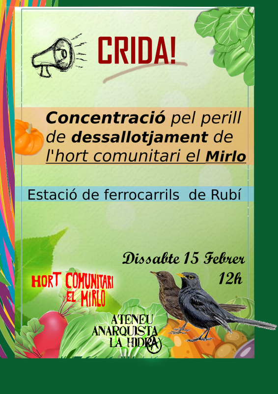 Rubí (Catalonia): Rally against the risk of eviction from El Mirlo  community garden